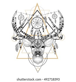 Detailed Deer in aztec style