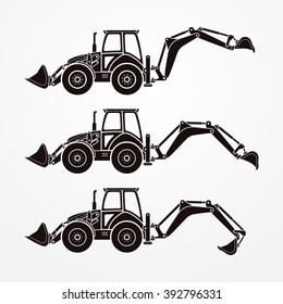 Detailed digging excavators in dark solid color. Typical four wheeled excavators in silhouette style. Excavator working - step-by-step digging process. Digging excavator stock vector image.