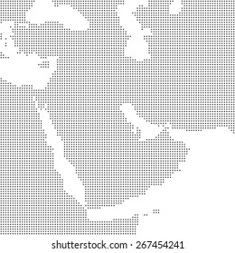 Detailed dotted map of Middle East and Arabian peninsula vector