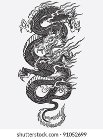 Detailed Dragon Tattoo Linework