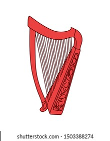 A detailed drawing of an ancient harp. Irish musical instrument