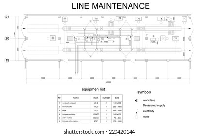 Detailed drawing of the building for car maintenance. Vector format