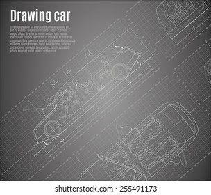 Detailed drawings of cars, limousine, with orthogonal views and sections.