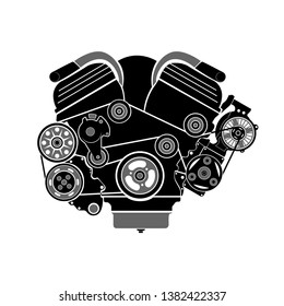 Detailed drawn engine icon, perfect for marking car knots in an online store, magazine or advertisement. All elements are drawn separately, and the presence of halftones allows you to quickly repaint