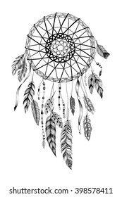 "Detailed dreamcatcher with ""sun"" ornament."