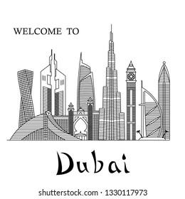 Detailed Dubai city line art vector illustration with famous skyscrapers. Dubai cityscape line vector.