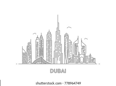 Detailed dubai line vector skyline. Uae landmark. Architecture dubai skyscraper in linear style illustration
