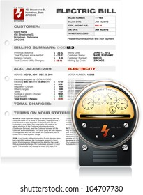 Detailed Electric Bill with Realistic Electric Counter Vector