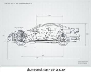 Detailed Engineering drawing of the car. Vector illustration