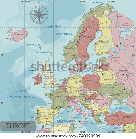 Detailed Europe Political Map Mercator Projection Stock Vector