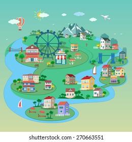 Detailed flat 3d isometric city: street buildings, parks, bridges, public places
