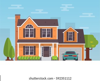Detailed flat style american house and Vector illustration