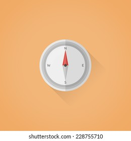 Detailed flat vector compass symbol icon