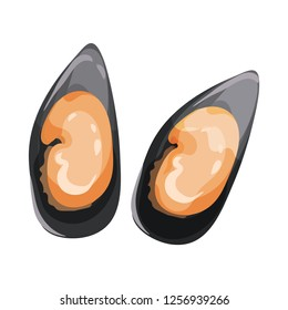 Detailed flat vector icon of two mussels in black shells. Delicious seafood. Edible marine product