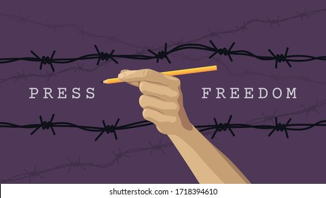 Detailed flat vector illustration of a hand holding a pen between layers of barbed wires. Purple background. World Press Freedom Day. Feel free to use only parts of the illustration too.