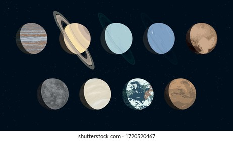 Detailed flat vector illustration of the nine planets in our solar system with realistic colors. Feel free to use only parts of the illustration too.