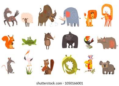 Detailed flat vector set of funny animals. Horse, sheep, bison, elephant, lion, giraffe, squirrel, frog, wild boar, gorilla, toucan, rhinoceros, rat, stork, beaver, crocodile, parrot, koala