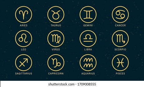 Detailed flat vector set of the zodiac horoscope signs as symbols on top of a dimmed semi-accurate star map. Feel free to use only parts of the illustration too.