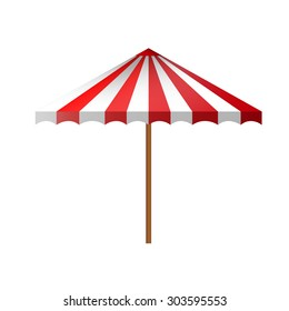 Detailed flat white multiple red with gradient shadow summer beach umbrella side view