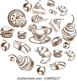 Detailed food sketch
