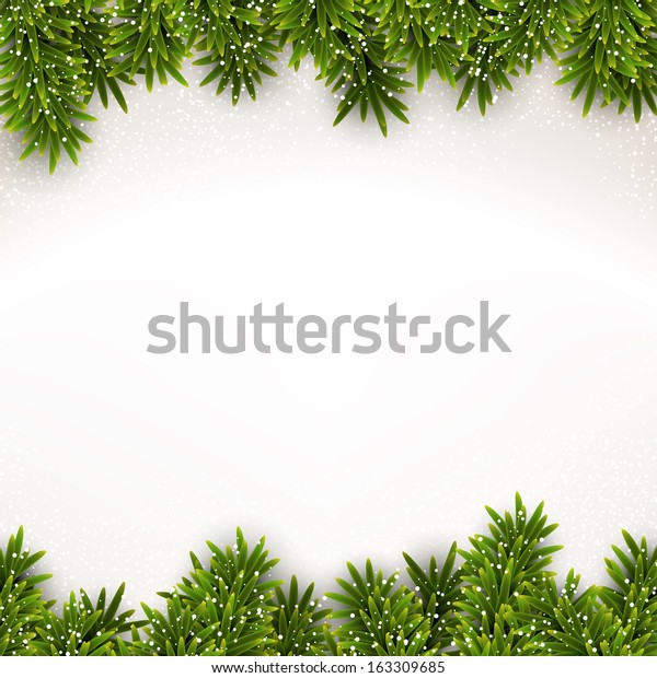Detailed frame with fir. Christmas background. Vector illustration.