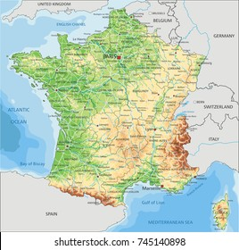Detailed France physical map.