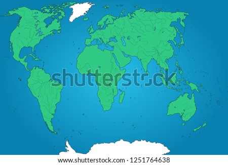 Detailed Geographical Map World Green Continents Stock Vector