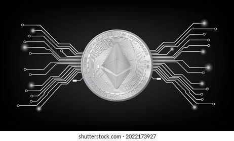 Detailed gold coin Ethereum ETH token with pcb tracks in black and white on dark background. Digital gold in techno style for website or banner. Vector illustration.
