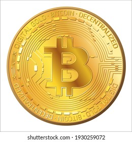 Detailed golden coins Bitcoin in front view isolated on white. BTC symbol of modern digital gold and money. Vector illustration.