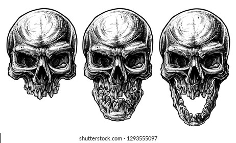 Detailed graphic hand drawn realistic black and white angry human skull with open jaw and broken teeth. Trash polka style. On white background. Vector icon set.