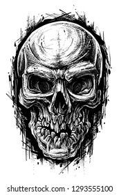 Detailed graphic hand drawn realistic black and white angry human skull with broken teeth. Trash polka style. On white background. Vector icon.