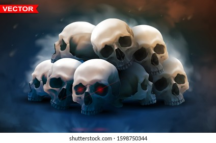Detailed graphic photorealistic colorful white human skulls lying in big stack with red eyes. On space background. Vector icon. Poster and t-shirt design.