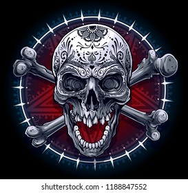 Detailed graphic realistic black and white human skull with mexican tattoo floral ornament and crossed bones. On five pointed pentagram star with ornament in circle background. Vector icon.