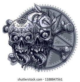 Detailed graphic realistic black and white human skulls with horrible long tongue and mexican tattoo floral ornament. On five pointed pentagram star with ornament in circle background. Vector icon.