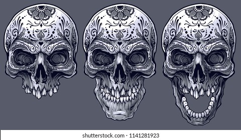 Detailed graphic realistic cool black and white human skulls with mexican tattoo floral ornament. On gray background. Vector icon set.