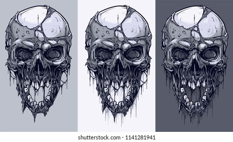 Detailed graphic realistic cool black and white human skulls with horrible pieces of dead skin, open mouth and broken teeth. On gray background. Vector icon set.