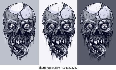 Detailed graphic realistic cool black and white human skulls with horrible pieces of dead skin, eyes, and horrible long tongue. On gray background. Vector icon set.