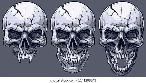 Detailed graphic realistic cool black and white human skulls with sharp canines and cracks. On gray background. Vector icon set.