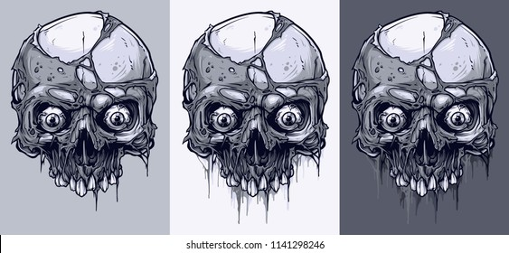 Detailed graphic realistic cool black and white human skulls without lower jaw, with pieces of dead skin and eyes. On gray background. Vector icon set.