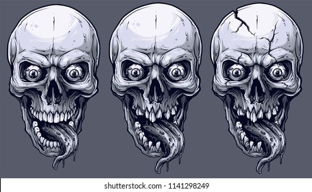 Detailed graphic realistic cool black and white human skulls with horrible long tongue and eyes. On gray background. Vector icon set.