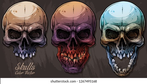 Detailed graphic realistic cool colorful human skulls with broken teeth. On grunge background. Vector icon set.