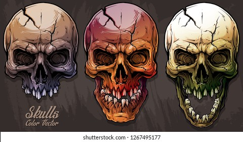 Detailed graphic realistic cool colorful human skulls with crack and broken teeth. On gray grunge background. Vector icon set.