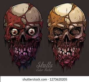 Detailed graphic realistic cool colorful human skulls with horrible pieces of dead skin, eyes and broken teeth. On gray grunge background. Vector icon set.