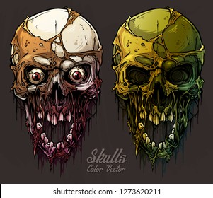 Detailed graphic realistic cool colorful human skulls with horrible pieces of dead skin, eyes, open mouth and broken teeth. On gray grunge background. Vector icon set.
