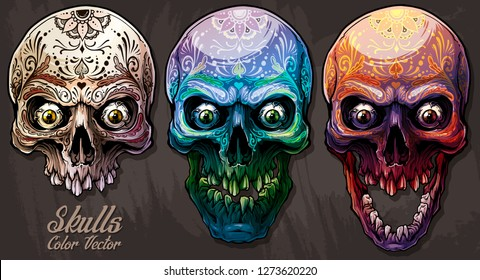 Detailed graphic realistic cool colorful human skulls with eyes and mexican tattoo floral ornament. On gray grunge background. Vector icon set.