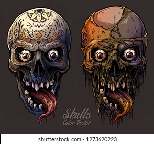 Detailed graphic realistic cool colorful human skulls with horrible long tongue and mexican tattoo floral ornament. On gray grunge background. Vector icon set.