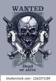 Detailed graphic realistic cool human skull with horrible pieces of dead skin. Crossed bones and hands holding old revolvers. On five pointed pentagram star with ornament background. Vector icon.