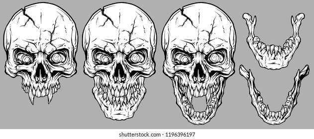 Detailed graphic realistic cool white human skulls with sharp canines, cracks and lower jaws. On gray background. Vector icon set.
