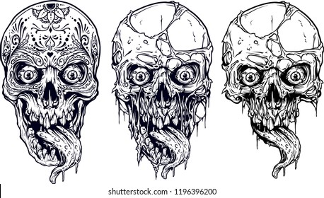 Detailed graphic realistic cool white human skulls with horrible long tongue and mexican tattoo floral ornament. On white background. Vector icon set.
