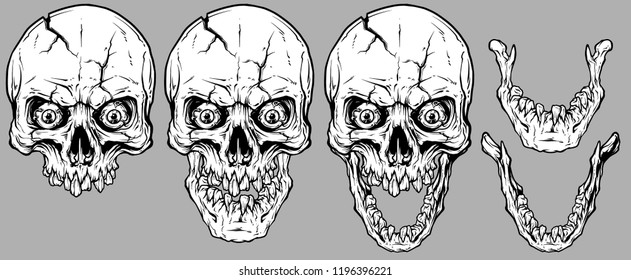 Detailed graphic realistic cool white human skulls with crack, crazy eyes, broken teeth and lower jaws. On gray background. Vector icon set.
